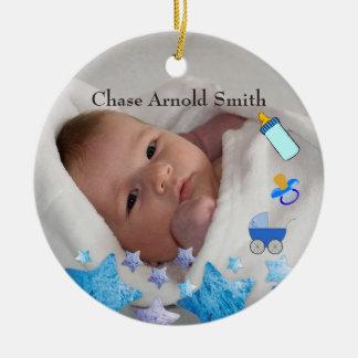 モダンな写真の新生児の誕生の記念品 セラミックオーナメント