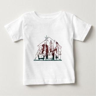 モダンな出生のクリスマスの芸術 ベビーTシャツ