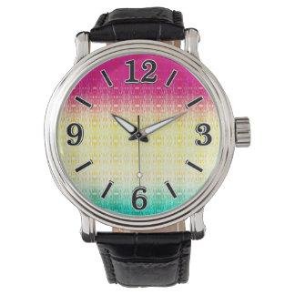 モダンな勾配の抽象芸術の水彩画パターン 腕時計