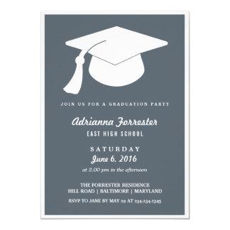 モダンな卒業の帽子の青い卒業パーティー 12.7 X 17.8 インビテーションカード
