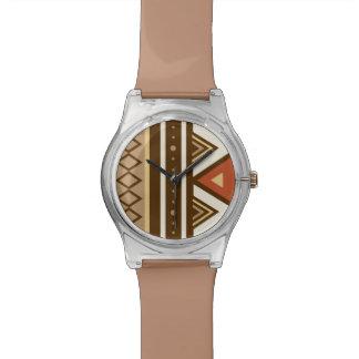 モダンな南西幾何学的、ブラウン、タン及び錆 腕時計