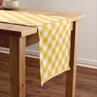 モダンな国のギンガムパターン黄色 ショートテーブルランナー