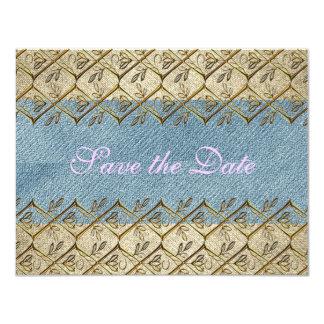 モダンな国の花のデニムのバーラップの素朴な花嫁 カード