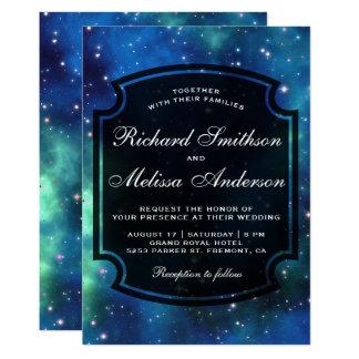 モダンな天の宇宙の銀河系の結婚式招待状 カード