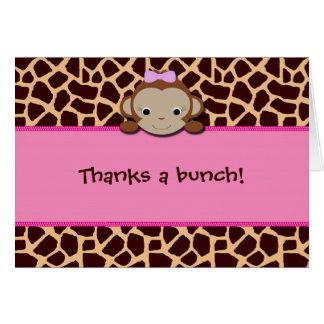 モダンな女の子猿は感謝していしています[ピンク] カード