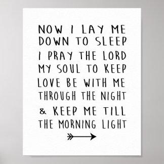 モダンな子供部屋のプリントの子供の就寝時間の祈りの言葉 ポスター