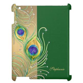モダンな孔雀の羽の模造のな宝石スクロール渦巻 iPadケース