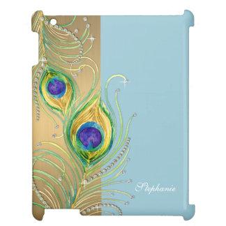 モダンな孔雀の羽の模造のな宝石スクロール渦巻 iPad カバー