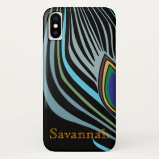 モダンな孔雀の羽の黒のターコイズあなたの名前 iPhone X ケース