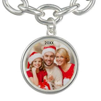 モダンな家族のエレガントな写真のクリスマスのブレスレット チャームブレスレット