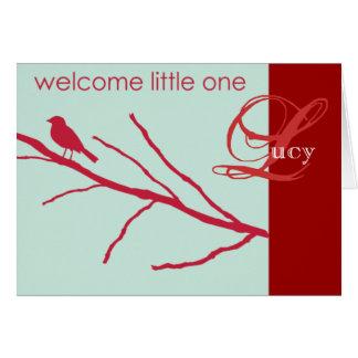 モダンな小鳥の誕生の発表1 -カスタマイズ カード
