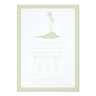 モダンな島のビーチ結婚式の招待状-緑 12.7 X 17.8 インビテーションカード