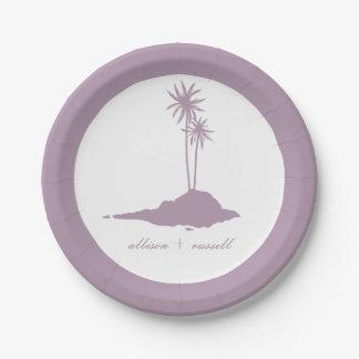 モダンな島のビーチ結婚式-バイオレット 紙皿 小