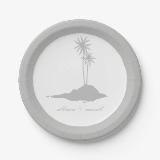 モダンな島のビーチ結婚式-灰色 ペーパープレート