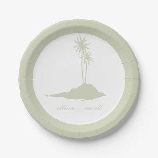 モダンな島のビーチ結婚式-緑 ペーパープレート スモール
