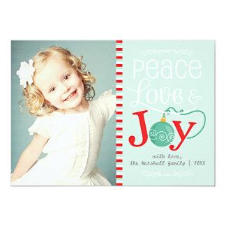 モダンな平和愛及び喜びのクリスマスの写真 12.7 X 17.8 インビテーションカード