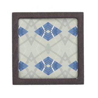 モダンな情報通のブルーグレー幾何学的なパターン ギフトボックス