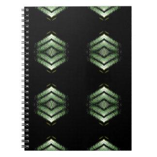 モダンな情報通の黒い緑パターン ノートブック