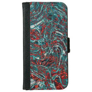 モダンな抽象美術の波状の回転パターン iPhone 6/6S ウォレットケース