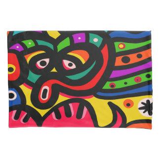 モダンな抽象美術の顔 枕カバー