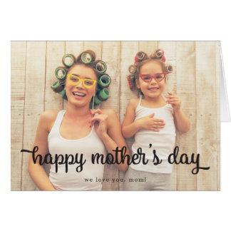 モダンな文字の写真の母の日の挨拶状 グリーティングカード