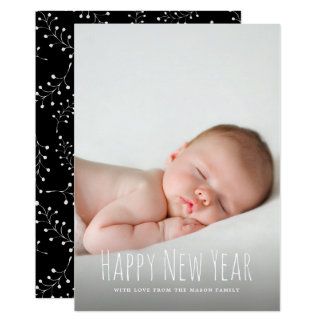 モダンな新年の写真の休日 カード