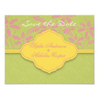 モダンな春のダマスク織の花の保存日付カード 10.8 X 14 インビテーションカード