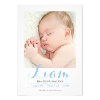 モダンな書道の青 の誕生の発表 カード