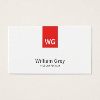 モダンな最小主義のモノグラムの白く赤いプロフィールカード 名刺