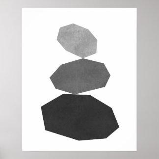 モダンな最小主義の幾何学的な小石の芸術のプリント ポスター