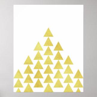 モダンな最小主義の幾何学的な金ゴールドホイルの三角形の芸術 ポスター