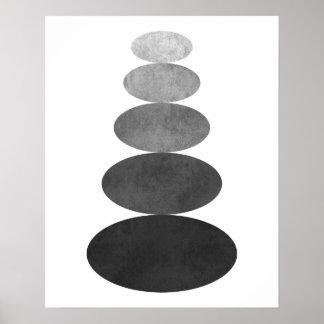 モダンな最小主義の禅の小石の芸術のプリント ポスター