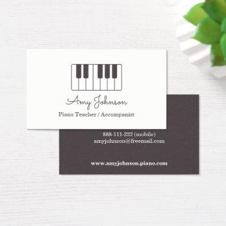 モダンな最小主義の音楽ピアノの教師 名刺