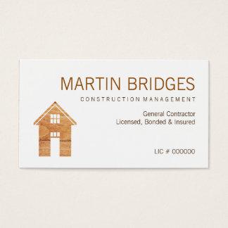 モダンな木製の概要の建設業カード 名刺