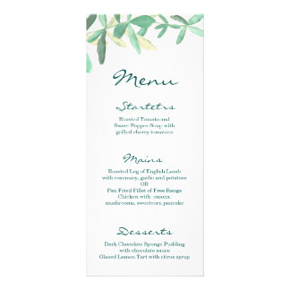 モダンな植物の緑の草木の結婚式メニュー ラックカード