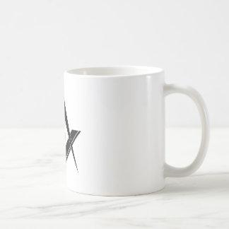 モダンな正方形およびコンパス コーヒーマグカップ