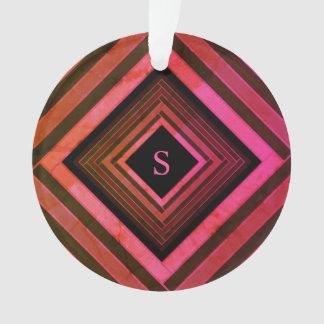 モダンな正方形の素朴なピンクの幾何学的なモノグラム オーナメント
