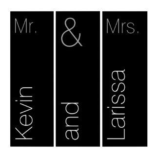 モダンな氏及び夫人タイポグラフィのカスタムの黒 トリプティカ