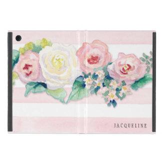 モダンな水彩画のシックな広いwのバラを縞で飾ります iPad mini ケース