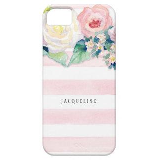モダンな水彩画のシックな広いwのバラを縞で飾ります iPhone 5 Case-Mate ケース