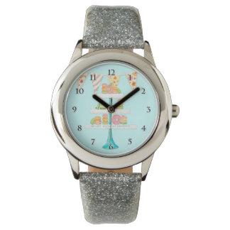 モダンな水彩画のフランスのなマカロンのPatisserieの立場 腕時計