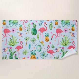 モダンな水彩画の熱帯花及びフラミンゴ ビーチタオル