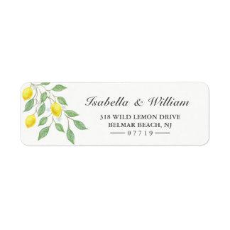 モダンな水彩画レモン夏の結婚式の住所 ラベル