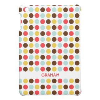 モダンな水玉模様の赤く黄色く青くモダンな名前入り iPad MINIカバー