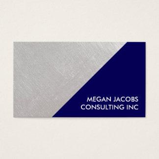 モダンな濃紺ののどによってブラシをかけられる銀製の幾何学的 名刺