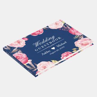 モダンな濃紺のピンクの花のリースの結婚式 ゲストブック
