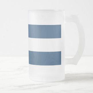 モダンな濃紺の白のストライプパターン フロストグラスビールジョッキ