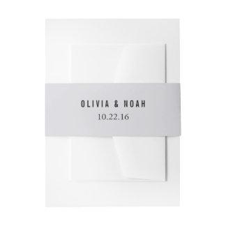 モダンな灰色のエレガントな結婚式招待状の腹バンド 招待状ベリーバンド