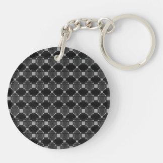 モダンな灰色のダイヤモンドおよび正方形パターン キーホルダー