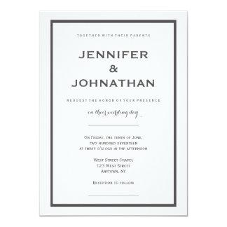 モダンな灰色のボーダー結婚式招待状 カード